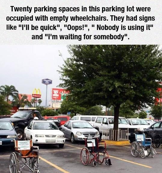 Wheelchairs parking