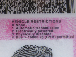 vEHICLE rESTRICTIONS LICENSE
